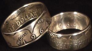 1964 Kennedy Silver Half Dollar Coin Rings