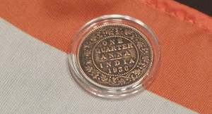 "British India 1/4 Anna - ""Victoria Queen"" Bronze Coin Rings"