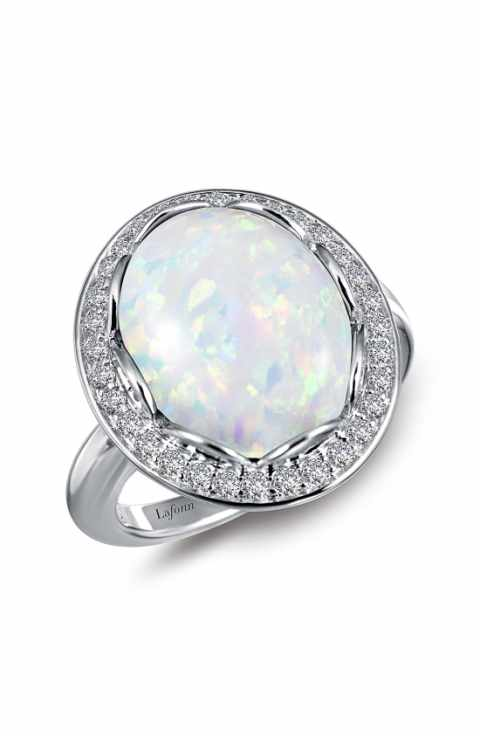 Lafonn Simulated Oval Opal With Halo Ring