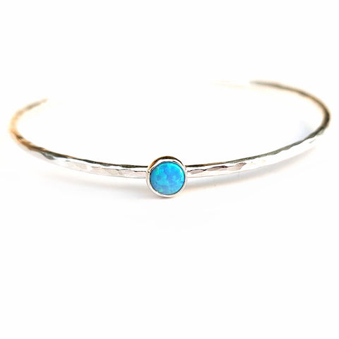 Blue Opal Sterling Silver Stacking Bangle