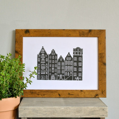 Amsterdam Lino Print by The Delightfully Chaotic Company