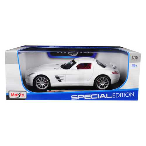 Mercedes Benz SLS AMG White with Red Interior 1/18 Diecast Model Car by Maisto