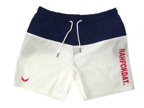 NahFckDat Swim Shorts- Red, White and Blue