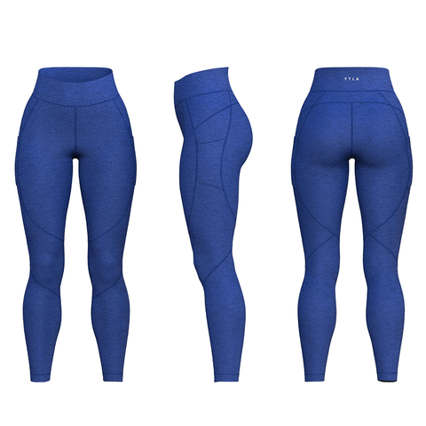 YTLA Leggings-Royal Blue Heathered