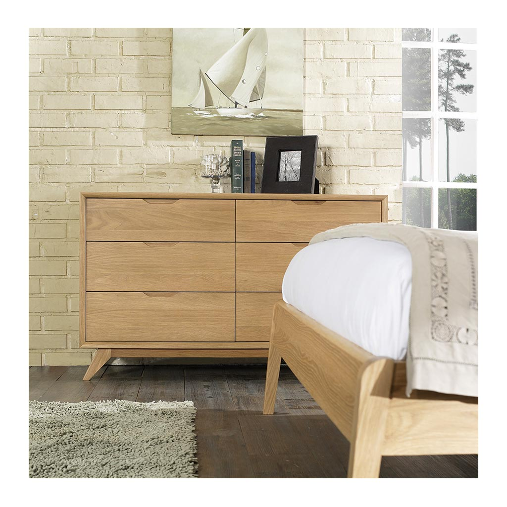 Erika Scandinavian Wooden Oak 6 Drawer Wide Chest of Drawers RETROJAN Ranvir Modern Designer 6 Drawer Chest Lifestyle