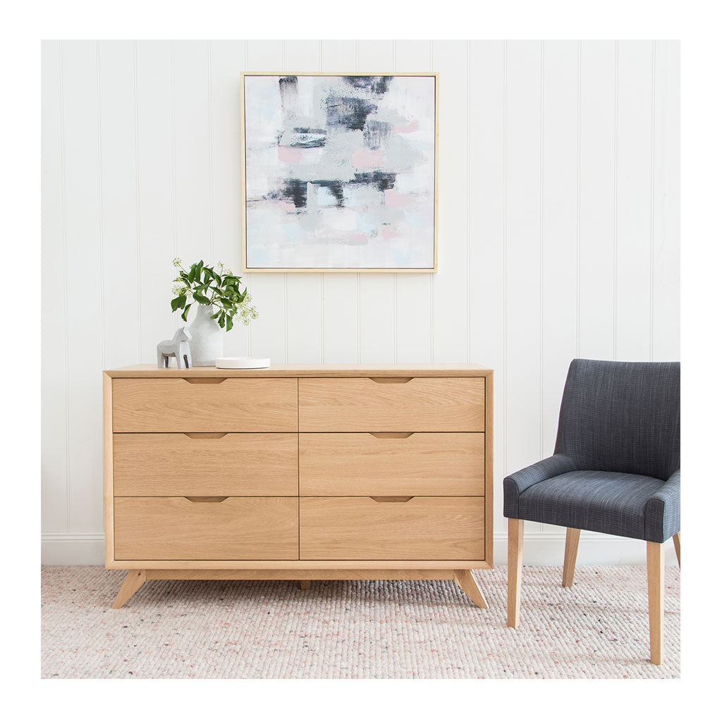 Erika Scandinavian Wooden Oak 6 Drawer Wide Chest of Drawers RETROJAN Ranvir Modern Designer 6 Drawer Chest