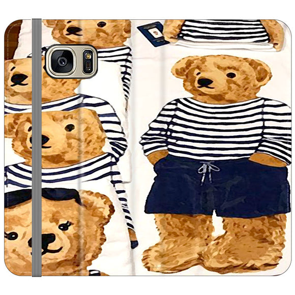 Polo Bear Pattern Blue White Stripe Samsung Galaxy S7 EDGE Flip Case | Frostedcase