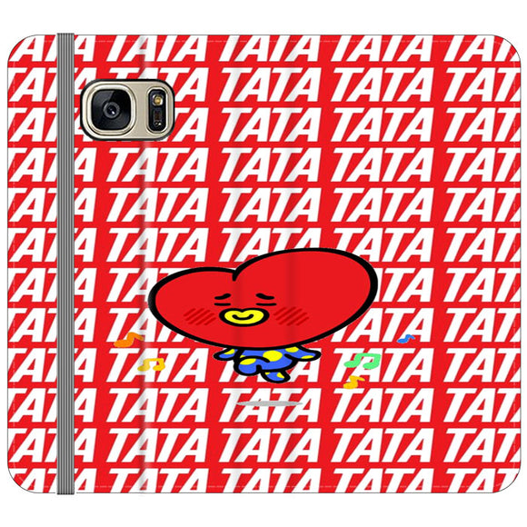 Tata Bts Icon Pattern Samsung Galaxy S7 EDGE Flip Case | Frostedcase