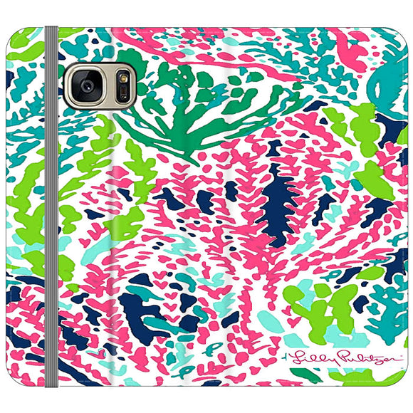 Seaweed Pattern Art Lilly Pulitzer Samsung Galaxy S7 EDGE Flip Case | Frostedcase