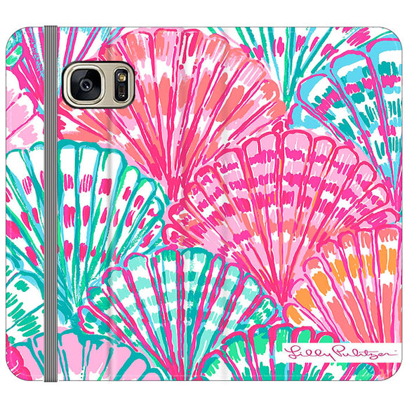 Shell Pattern Lilly Pulitzer Samsung Galaxy S7 EDGE Flip Case | Frostedcase