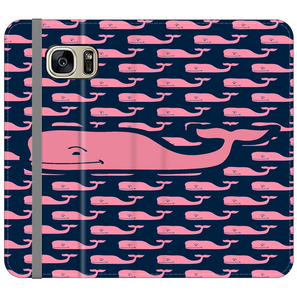The Pope Vines Whale Pattern Navy Samsung Galaxy S7 EDGE Flip Case | Frostedcase