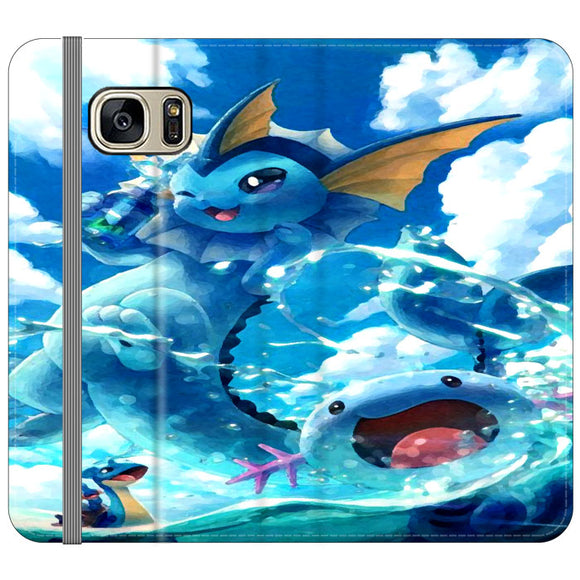 Vaporeon And Friends Pokemon Water Samsung Galaxy S7 EDGE Flip Case | Frostedcase