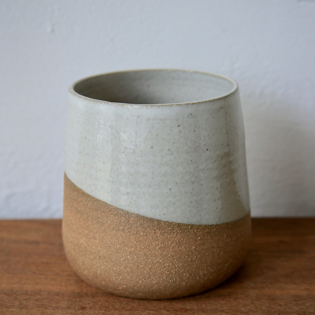 Form Planter in Brown Stoneware