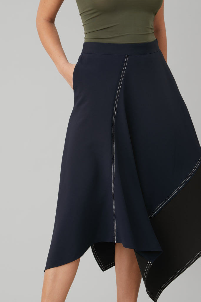 ASYMETRICAL LONG SKIRT IN BLACK WOOL