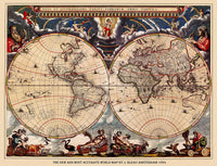 1664 Map of the World by J. Bleau