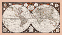 1799 World Map with the Voyages of Captain Cook Art Print