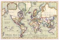 1766 New Map of the World on Mercator's Projection Art Print