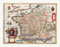 1649 Map of the Kingdom of France by J. Blaeu