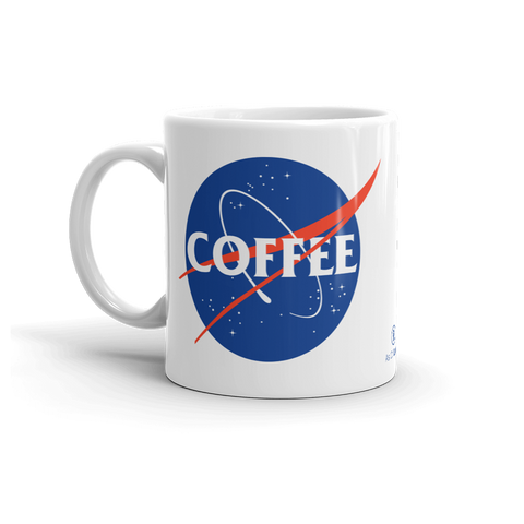 Sturdy white, glossy ceramic 11oz or 15oz mug, with printed graphics. Dishwasher and microwave safe. Funny coffee design. Made in the USA. Perfect for space lovers, inspired by NASA logo.