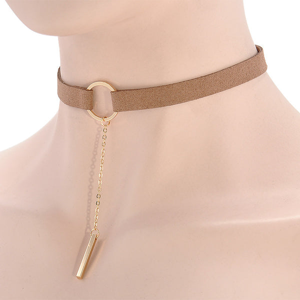Leather Choker Necklace  For Girls