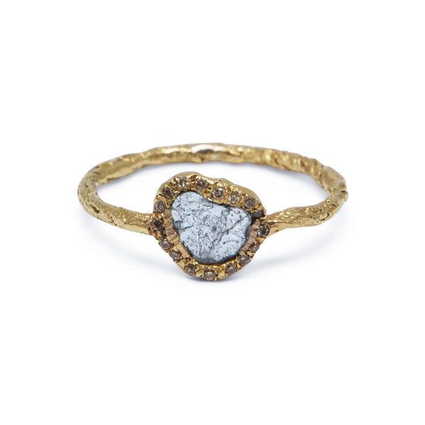 Blue diamond slice ring in 18ct yellow gold