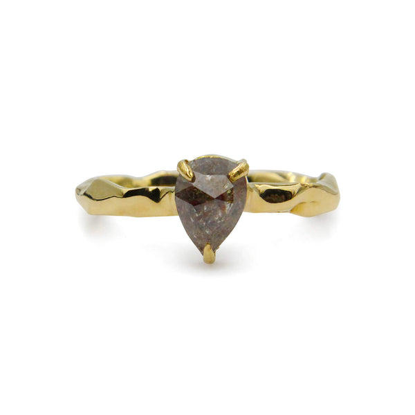 Pear shape grey diamond ring 18ct yellow