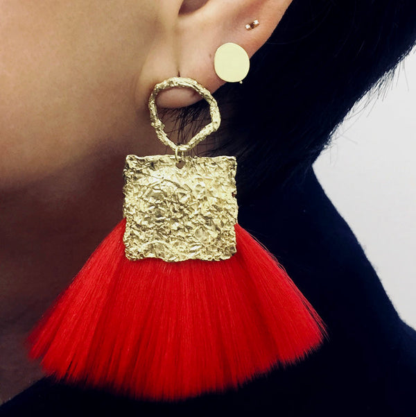 CANVAS Statement FAN BRUSH EARRINGS large circle-RED