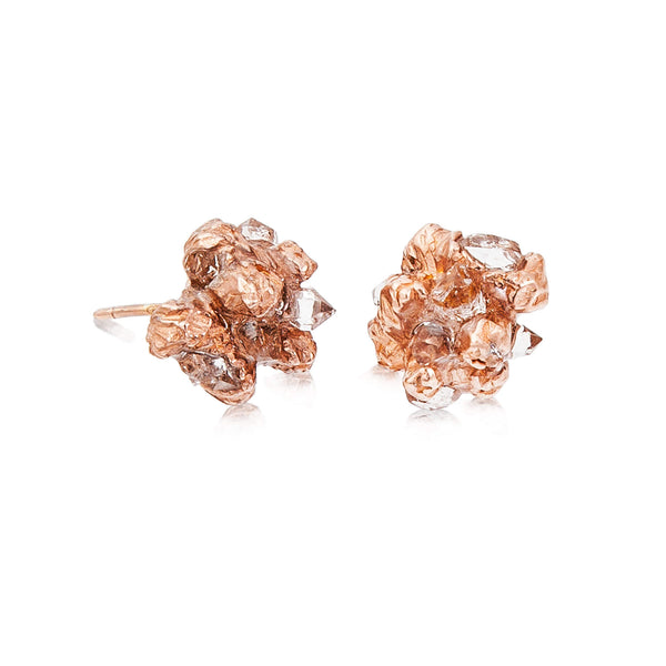 UNDER EARTH Stone Studs - Rose Gold