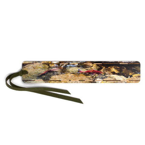 Kokanee Salmon Spawning in British Columbia - Color Photograph by Mike DeCesare - Wooden Bookmark with Tassel