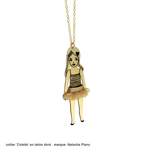 Colette-ballerina chain with cute tutu on vermeil chain