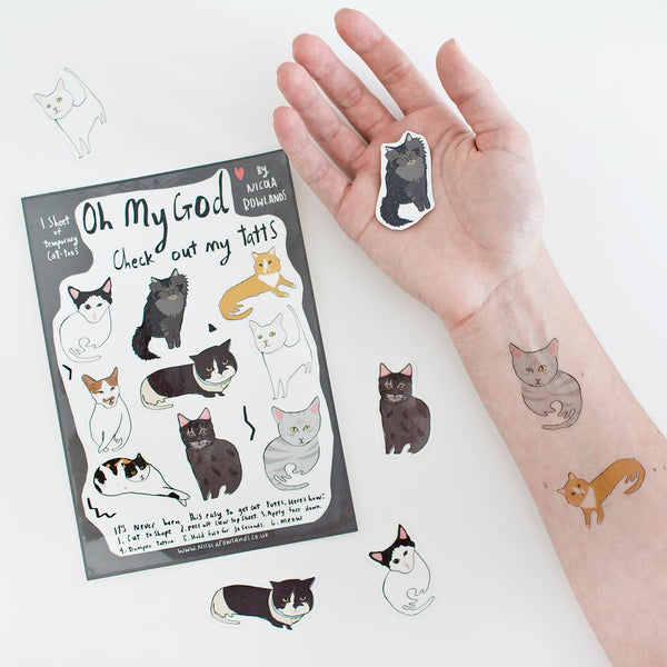 cat lover temporary tattoos