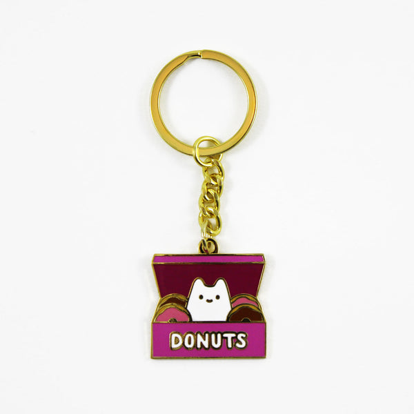 baby cat donut box gold keychain