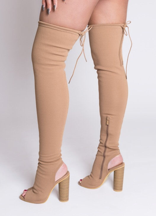 Mocha Stretch Thigh High Open Toe Boot