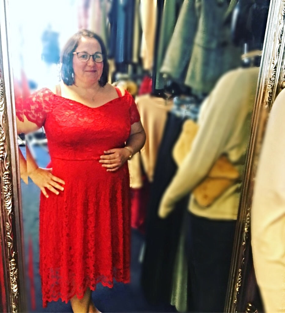 Red Bardot Lace Dress