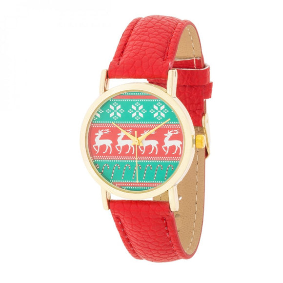 Gold Holiday Watch With Red Leather Strap - The Fugly Mug Company