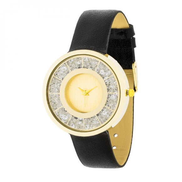 Gold Black Leather Watch With Crystals - The Fugly Mug Company