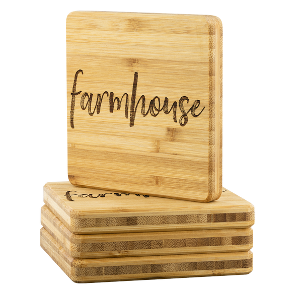 Farmhouse Bamboo Coasters - The Fugly Mug Company