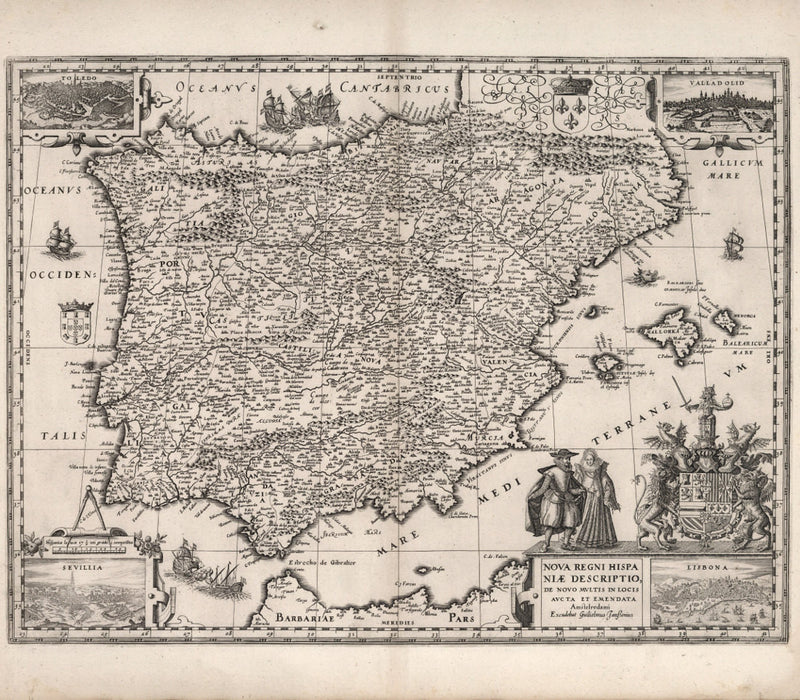 historical map of Spain from 17th century