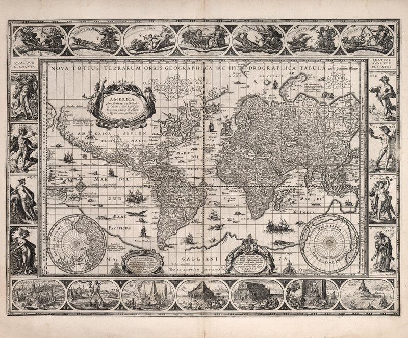 historical map of world 17th century