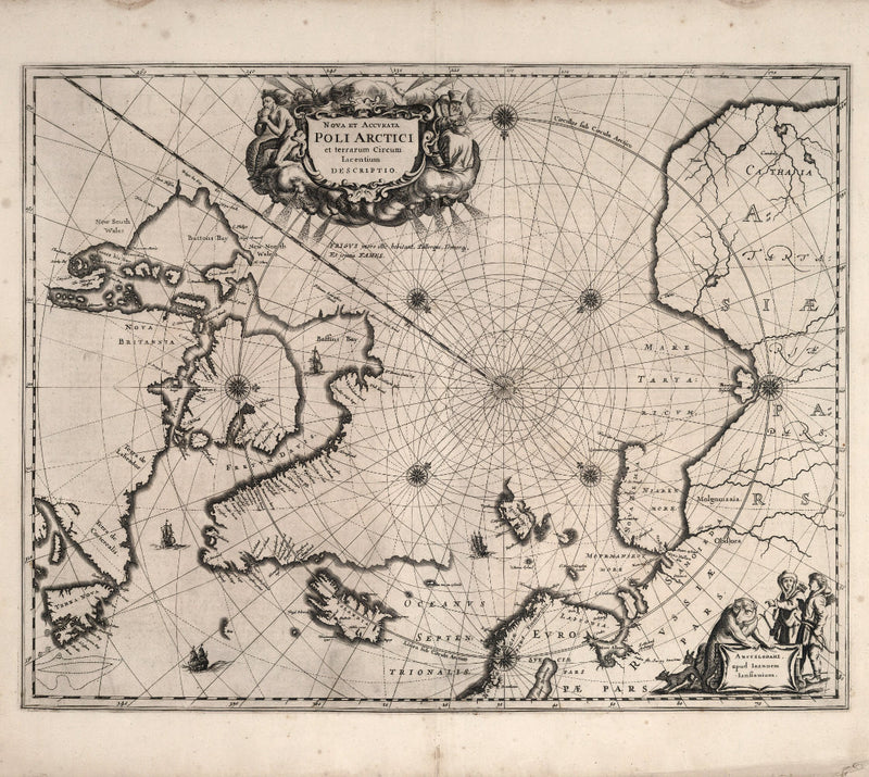 nautical chart 17th century arctic ocean