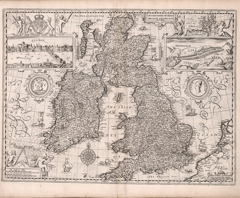 historical Great Britain map 17th century England Ireland Scotland Wales