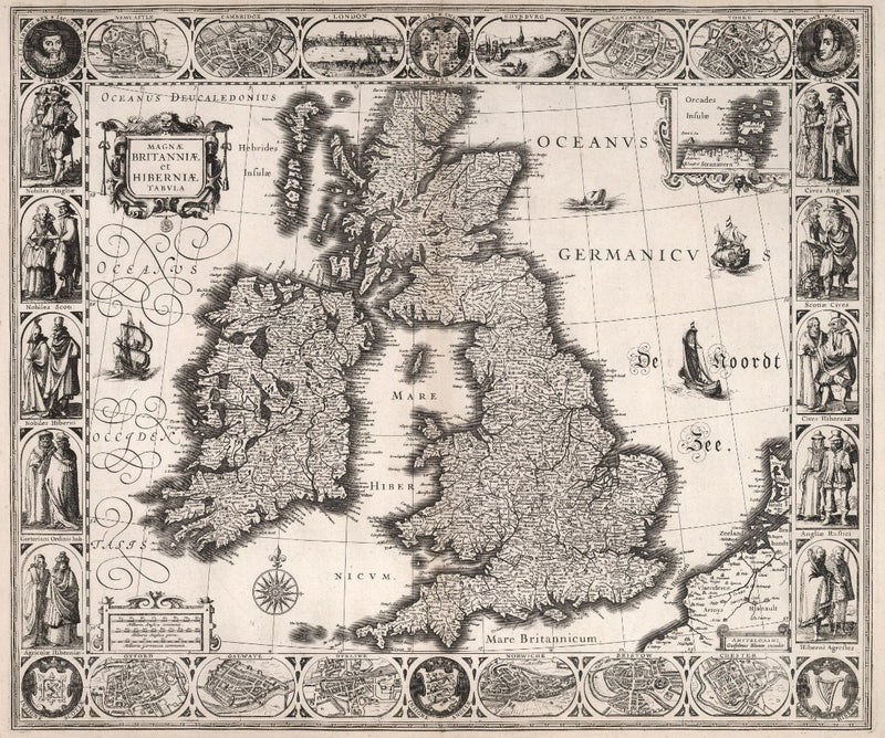 historical map of Great Britain and Ireland from 17th century