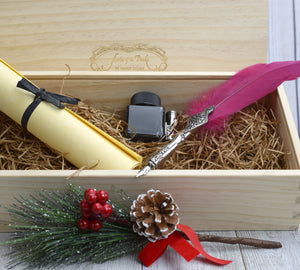 Wood gift box with quill, pen, and ink