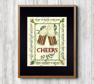 craft beer art print in frame