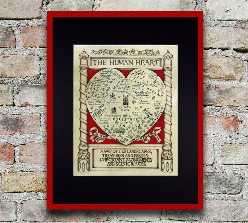 map of the human heart art print