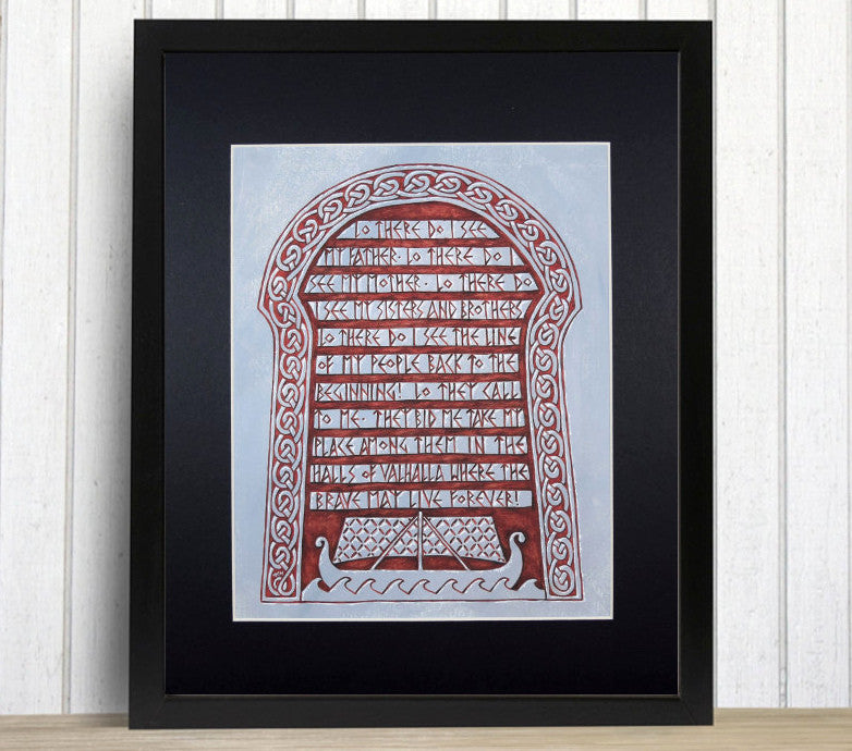 framed rune stone print Viking funeral prayer after 10th century ship burial