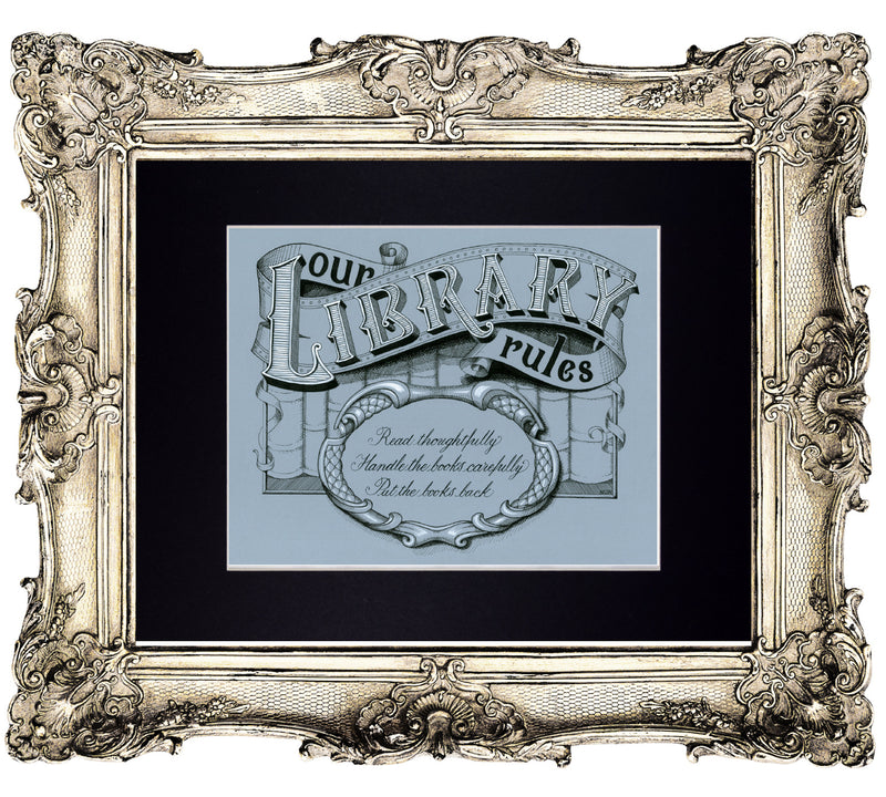 library rules art print in frame