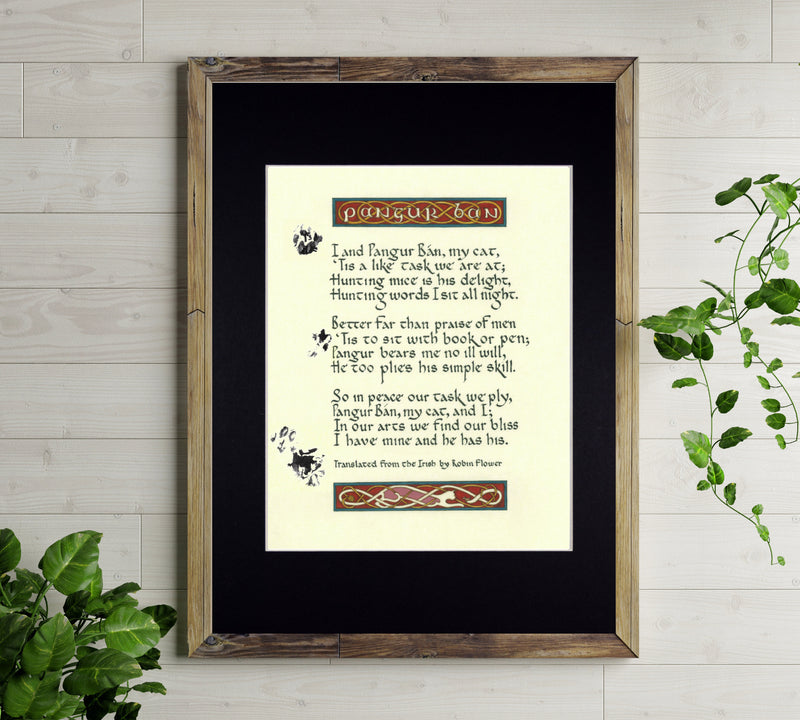 pangur ban irish poem art print
