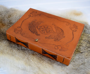 Norse Viking design on leather journal cover
