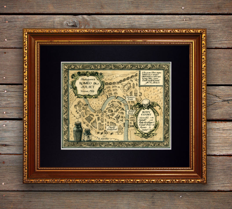 Romeo and Juliet map of Verona Italy